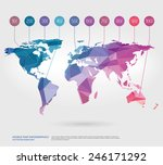 vector world map with polygonal