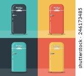 retro fridge   different color | Shutterstock .eps vector #246173485