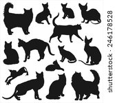 cats silhouettes set. vector... | Shutterstock .eps vector #246178528