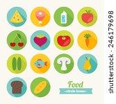 set of round flat food icons....