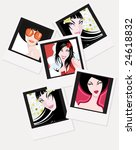 vector girls'  instant photo... | Shutterstock .eps vector #24618832