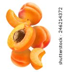 Slice Apricots Isolated On...