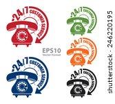 24 7 customer service sticker ... | Shutterstock .eps vector #246220195