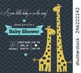 Baby Boy Shower Card   Vector...