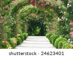 Stock photo rose arch in the garden 24623401