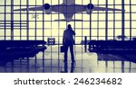 Small photo of Businessman Airport Terminal Waiting Standing Alone Travel Concept
