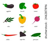 vegetable icon set  organic... | Shutterstock . vector #246287896