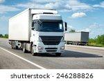 white truck on road. cargo... | Shutterstock . vector #246288826