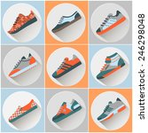 fashion trainers icons set.... | Shutterstock .eps vector #246298048
