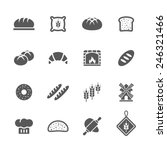 Bakery  Bread Icons Set.