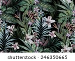 Stock photo tropical floral print variety of jungle and island flowers in bouquets in a dark exotic print 246350665