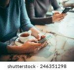 two people using smart phones... | Shutterstock . vector #246351298