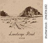 desert road. hand drawn vector... | Shutterstock .eps vector #246356182