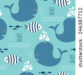 Stock vector seamless whale and fish pattern vector illustration 246387712