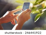 Hands Of Woman With Smartphone...