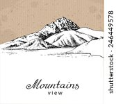 mountains and lake. hand drawn... | Shutterstock .eps vector #246449578