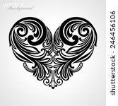 black valentine heart in floral ... | Shutterstock .eps vector #246456106