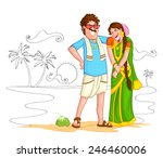 south indian couple of india in ... | Shutterstock .eps vector #246460006