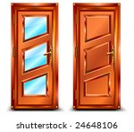 Door From Wood And Glass ...
