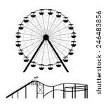 ferris wheel and roller coaster ... | Shutterstock .eps vector #246483856