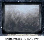 old dusty mirror in a wooden ancient frame - stock photo