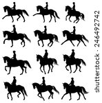 12 silhouettes of horses with... | Shutterstock .eps vector #246492742