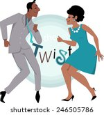 black couple  dressed in late... | Shutterstock .eps vector #246505786