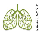 human lung icon tree leaves | Shutterstock .eps vector #246524512
