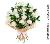 Stock photo bouquet of beautiful white roses isolated on white a great gift to a woman for an anniversary 246525136