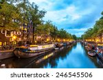 Stock photo canals of amsterdam at night amsterdam is the capital and most populous city of the netherlands 246545506