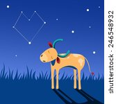 small bull walks at night and... | Shutterstock .eps vector #246548932