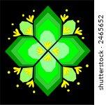 Bright neon green kaleidoscope icon design - stock vector