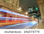 England at night with the lights of the cars passing by, shot in London, United Kingdom, England - stock photo