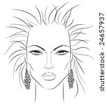 Sketch of a female face which can be a perfect template for makeup