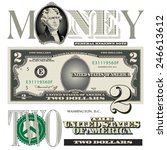 miscellaneous two dollar bill... | Shutterstock .eps vector #246613612