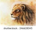 Lion Head With A Majesticaly...