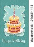 vector birthday cake with... | Shutterstock .eps vector #246654445