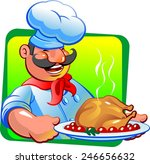 cook and fried chicken | Shutterstock .eps vector #246656632