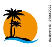 sunset and palm trees on island ... | Shutterstock .eps vector #246660022
