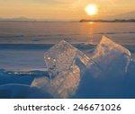 lake baikal. sunset in winter.   Shutterstock . vector #246671026