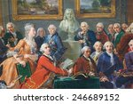 Small photo of ROUEN, FRANCE - FEBRUARY 10, 2013: Painting depicting the reading of the tragedy l'Orphelin de la China by Voltaire in the salon of Madame Geoffrin in Paris in 1775.