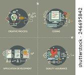 set six of internet technology... | Shutterstock .eps vector #246695842
