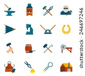 Blacksmith Icon Flat Set With...