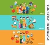 big happy healthy family flat...   Shutterstock .eps vector #246697846