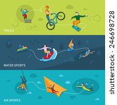 extreme sports flat banners set ... | Shutterstock .eps vector #246698728