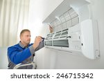 young man repairing air... | Shutterstock . vector #246715342