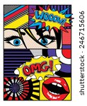 Pop Art Card Vector Illustration