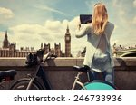 girl with a tablet against uk... | Shutterstock . vector #246733936