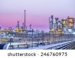 twilight scene of petroleum and ... | Shutterstock . vector #246760975