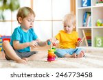 kids boys with educational toy...   Shutterstock . vector #246773458